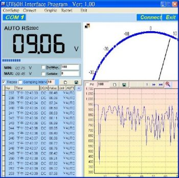 UT61E Multimeter PC software interface